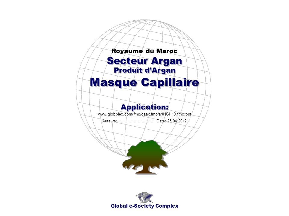 Produit dArgan Royaume du Maroc Global e-Society Complex www.globplex.com/fmo/qaax.fmo/ar0164.10.fmo.ppt Secteur Argan Application: Auteurs: …………………….