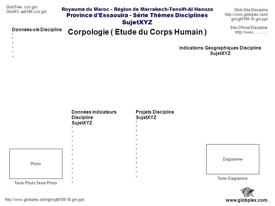 Royaume du Maroc - Région de Marrakech-Tensift-Al Haouza Province d Essaouira - Série Thèmes Disciplines SujetXYZ Corpologie ( Etude du Corps Humain ) http://www.globplex.com/grn/gt0109.10.grn.ppt www.globplex.com.