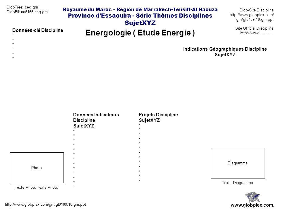 Royaume du Maroc - Région de Marrakech-Tensift-Al Haouza Province d Essaouira - Série Thèmes Disciplines SujetXYZ Energologie ( Etude Energie ) http://www.globplex.com/grn/gt0109.10.grn.ppt www.globplex.com.