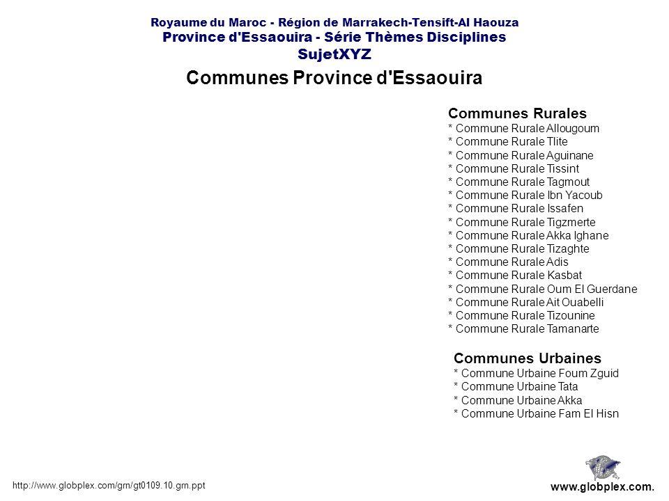 Communes Province d'Essaouira http://www.globplex.com/grn/gt0109.10.grn.ppt www.globplex.com. Communes Rurales * Commune Rurale Allougoum * Commune Ru