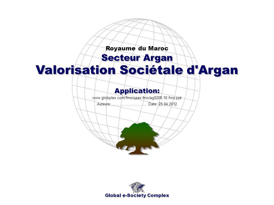 Valorisation Sociétale d Argan Royaume du Maroc Global e-Society Complex www.globplex.com/fmo/qaax.fmo/ag0208.10.fmo.ppt Secteur Argan Application: Auteurs: …………………….… Date: 25.04.2012