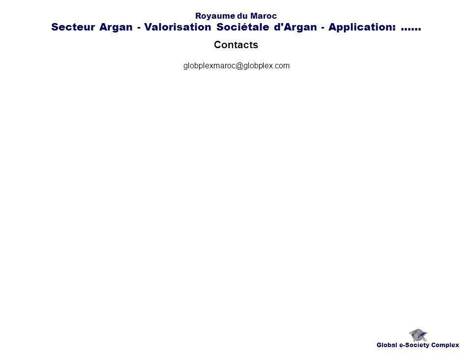Contacts Global e-Society Complex globplexmaroc@globplex.com Royaume du Maroc Secteur Argan - Valorisation Sociétale d Argan - Application:......