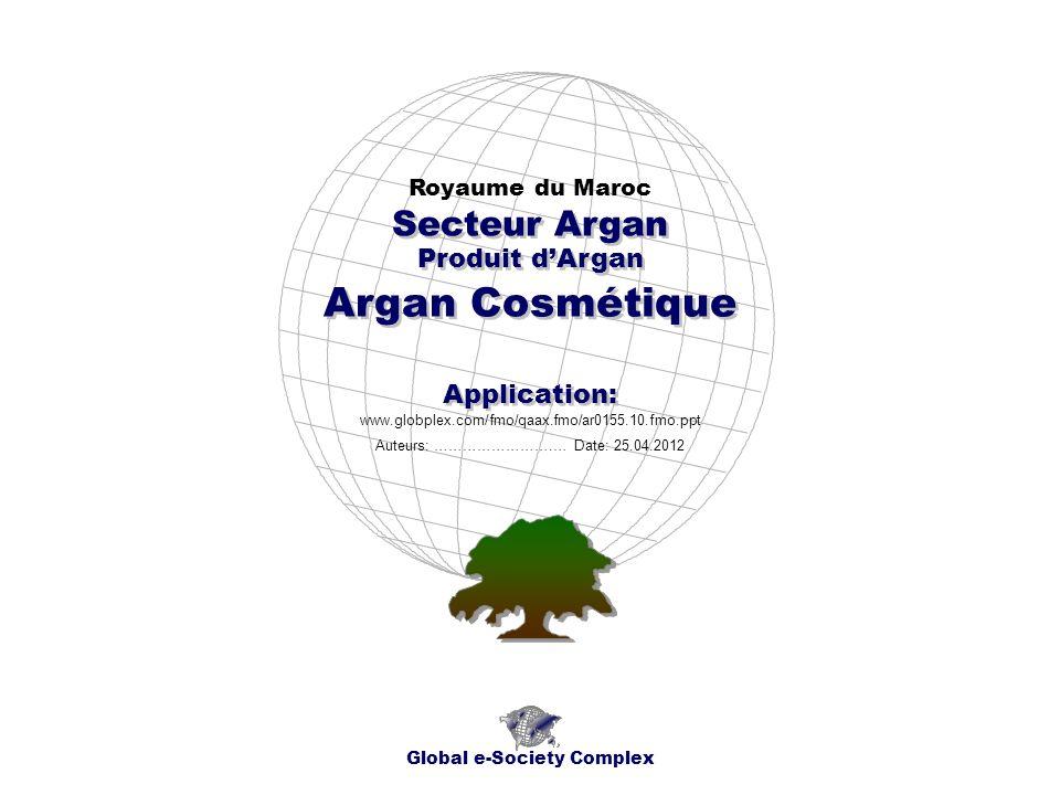 Produit dArgan Royaume du Maroc Global e-Society Complex www.globplex.com/fmo/qaax.fmo/ar0155.10.fmo.ppt Secteur Argan Application: Auteurs: …………………….