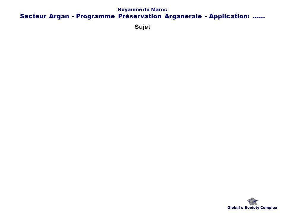 Contacts Global e-Society Complex globplexmaroc@globplex.com Royaume du Maroc Secteur Argan - Programme Préservation Arganeraie - Application:......