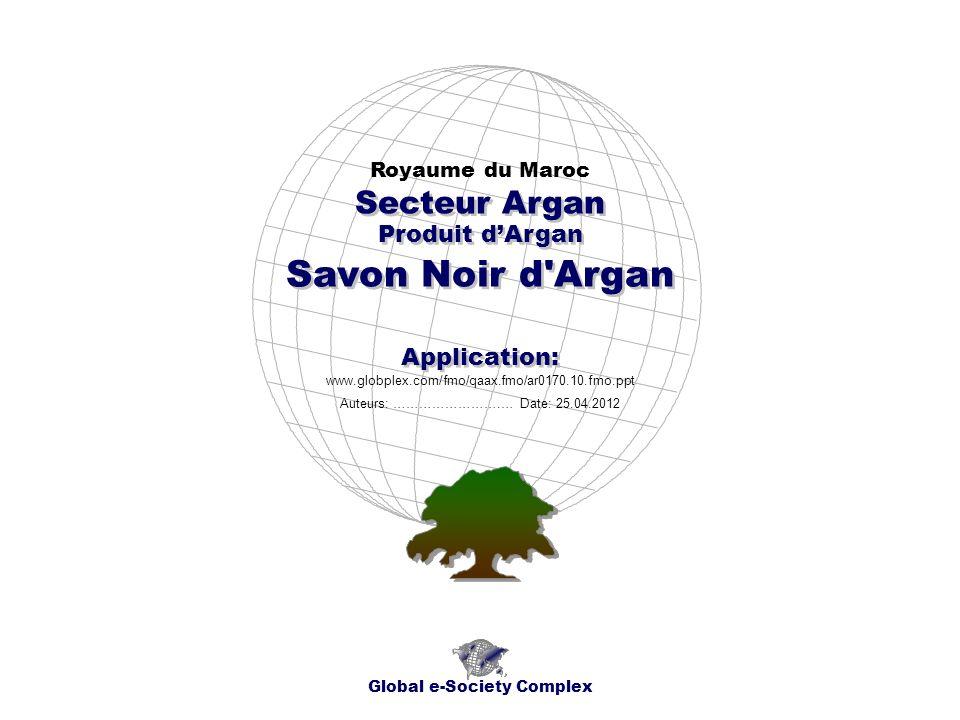Produit dArgan Royaume du Maroc Global e-Society Complex www.globplex.com/fmo/qaax.fmo/ar0170.10.fmo.ppt Secteur Argan Application: Auteurs: …………………….