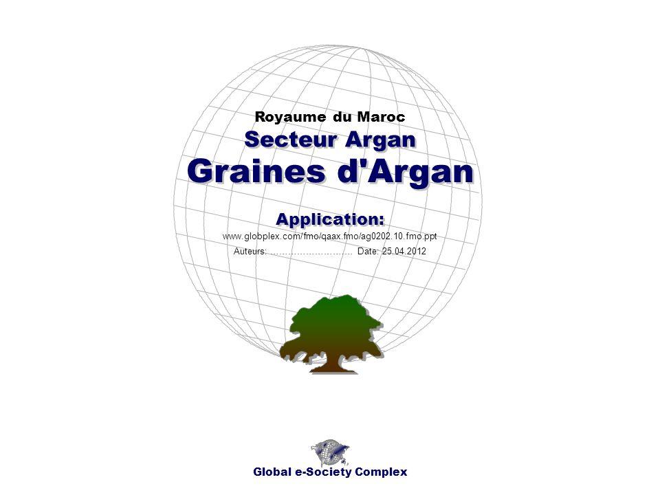 Index Global e-Society Complex * Index * Aperçu de lApplication * Cartes Géographiques * Chronogrammes * Sujet * * Contacts Royaume du Maroc Secteur Argan - Graines d Argan - Application:......