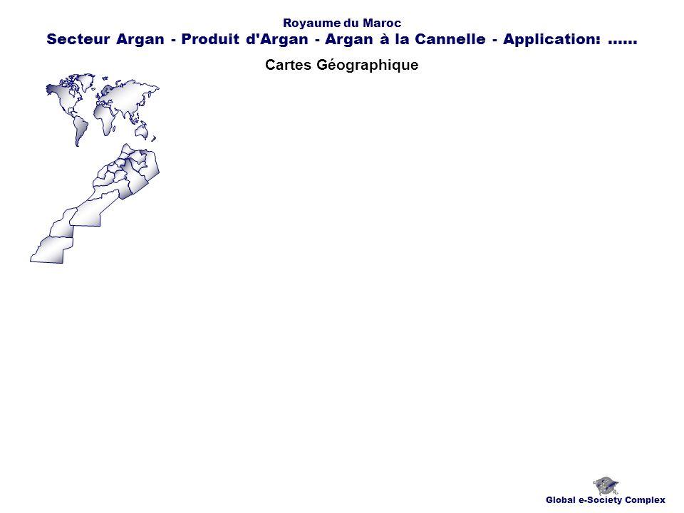 Cartes Géographique Global e-Society Complex Royaume du Maroc Secteur Argan - Produit d'Argan - Argan à la Cannelle - Application:......