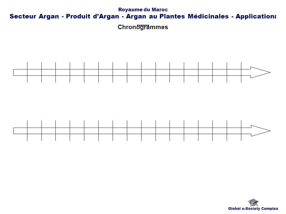 Chronogrammes Global e-Society Complex Royaume du Maroc Secteur Argan - Produit d Argan - Argan au Plantes Médicinales - Application:......