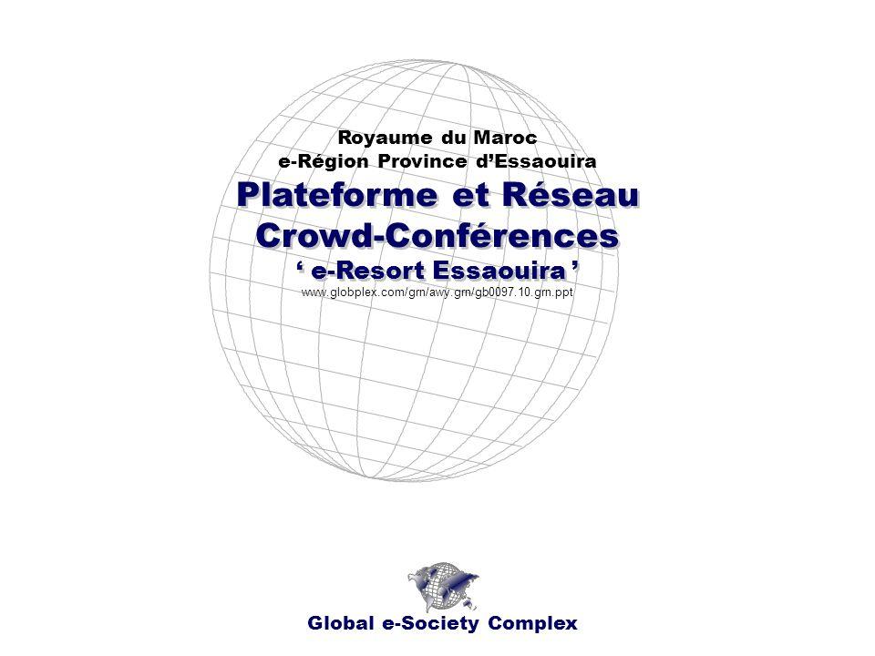 Plateforme et Réseau Crowd-Conférences e-Resort Essaouira Plateforme et Réseau Crowd-Conférences e-Resort Essaouira Royaume du Maroc e-Région Province dEssaouira Global e-Society Complex www.globplex.com/grn/awy.grn/gb0097.10.grn.ppt