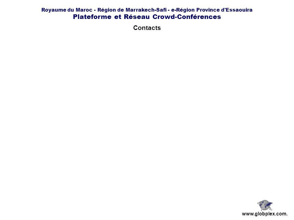 Royaume du Maroc - Région de Marrakech-Safi - e-Région Province d Essaouira Plateforme et Réseau Crowd-Conférences www.globplex.com.