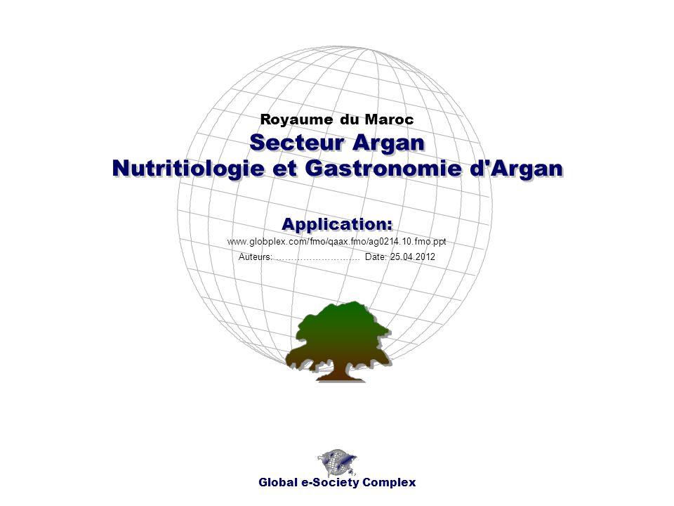 Nutritiologie et Gastronomie d'Argan Royaume du Maroc Global e-Society Complex www.globplex.com/fmo/qaax.fmo/ag0214.10.fmo.ppt Secteur Argan Applicati