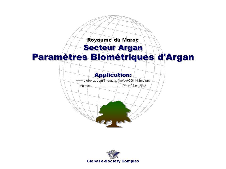 Paramètres Biométriques d Argan Royaume du Maroc Global e-Society Complex www.globplex.com/fmo/qaax.fmo/ag0206.10.fmo.ppt Secteur Argan Application: Auteurs: …………………….… Date: 25.04.2012