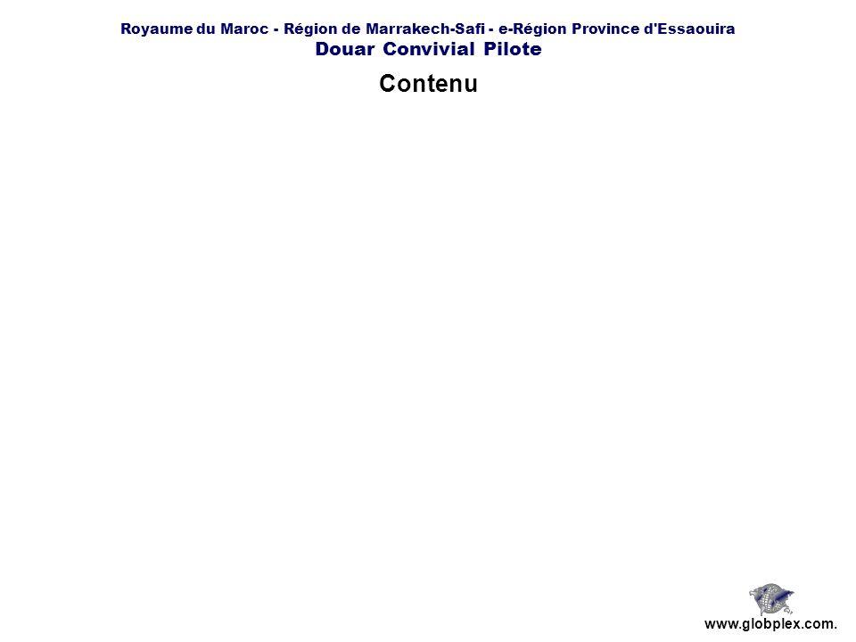 Royaume du Maroc - Région de Marrakech-Safi - e-Région Province d'Essaouira Douar Convivial Pilote www.globplex.com. Contenu
