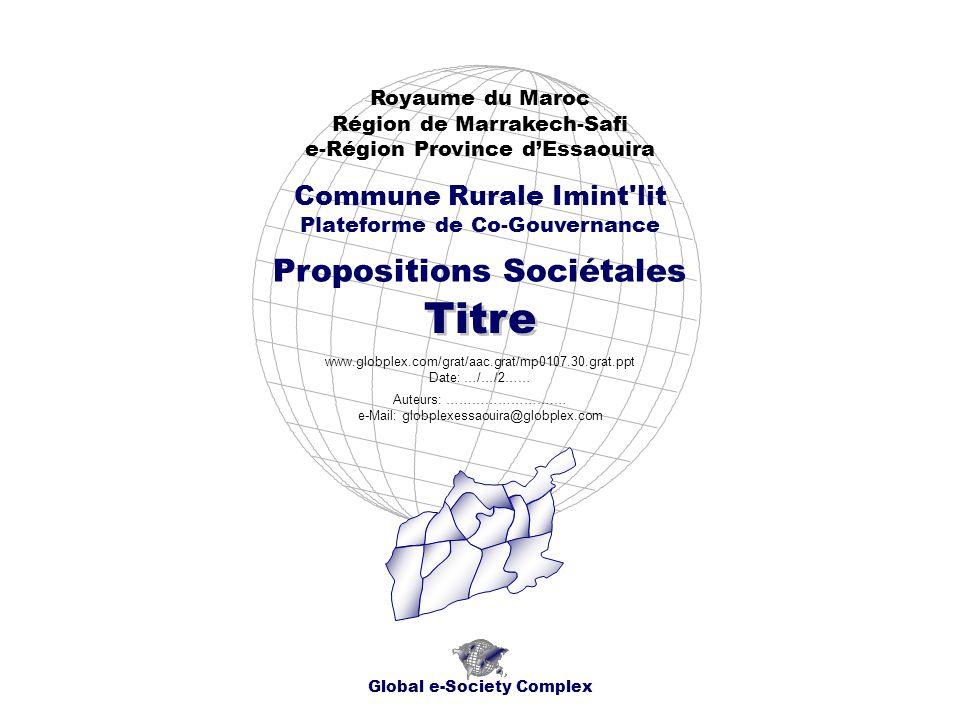 Global e-Society Complex www.globplex.com/grat/aac.grat/mp0107.010.grat.ppt Royaume du Maroc - Région de Marrakech-Safi - e-Région Province d Essaouira Commune Rurale Imint lit - Propositions Sociétales Plan Socio-économique Titre