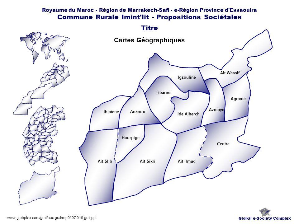 Global e-Society Complex Royaume du Maroc - Région de Marrakech-Safi - e-Région Province d Essaouira Commune Rurale Imint lit - Propositions Sociétales Plans Titre www.globplex.com/grat/aac.grat/mp0107.010.grat.ppt