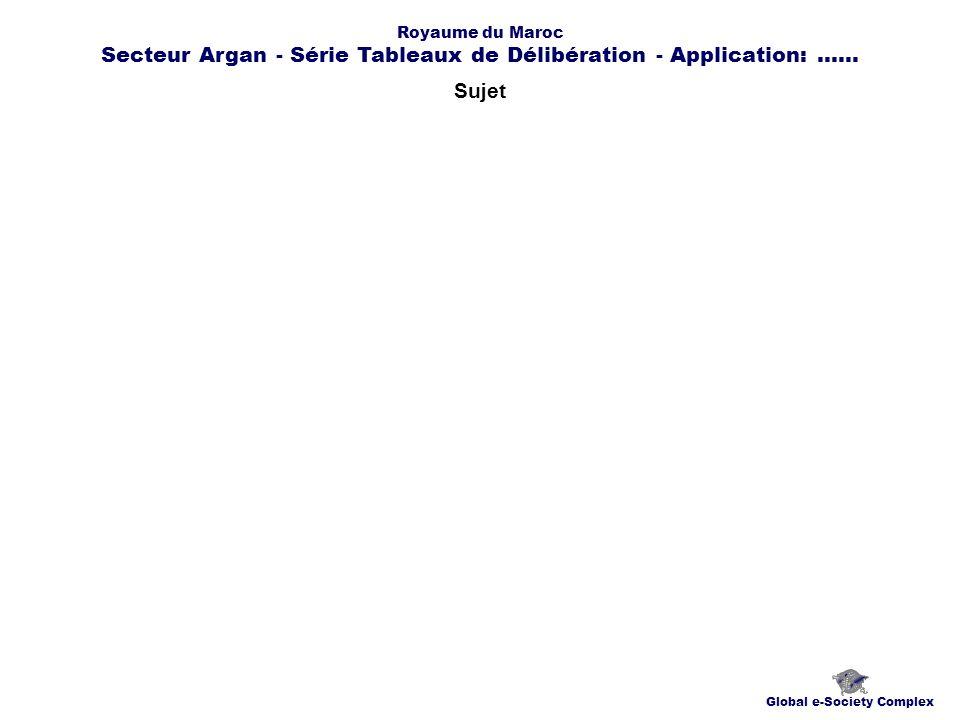 Sujet Global e-Society Complex Royaume du Maroc Secteur Argan - Série Tableaux de Délibération - Application:......