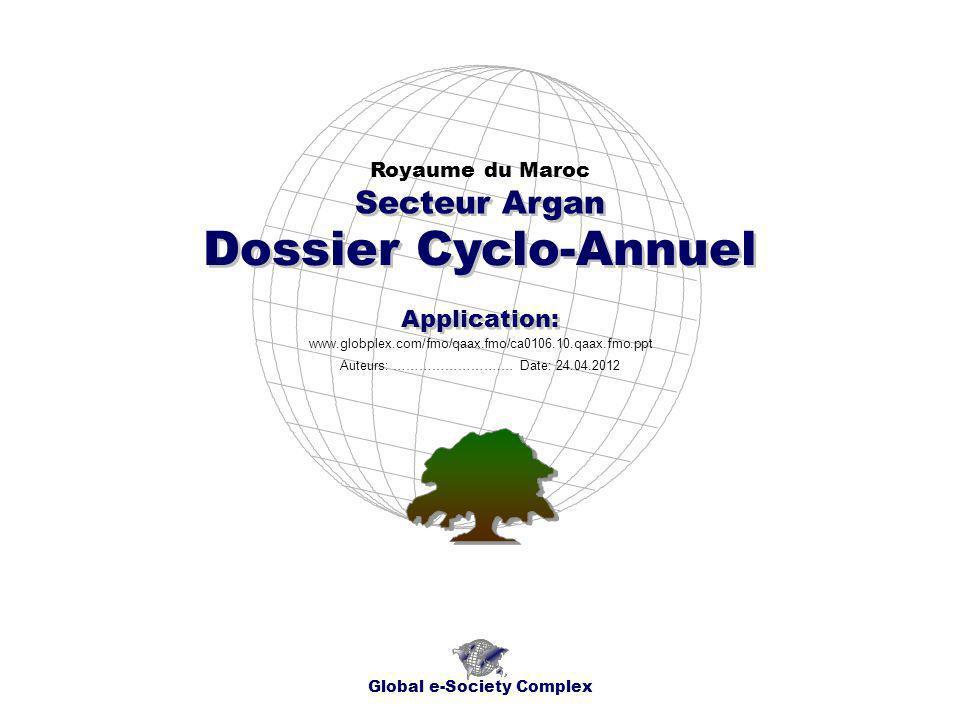 Dossier Cyclo-Annuel Royaume du Maroc Global e-Society Complex www.globplex.com/fmo/qaax.fmo/ca0106.10.qaax.fmo.ppt Secteur Argan Application: Auteurs