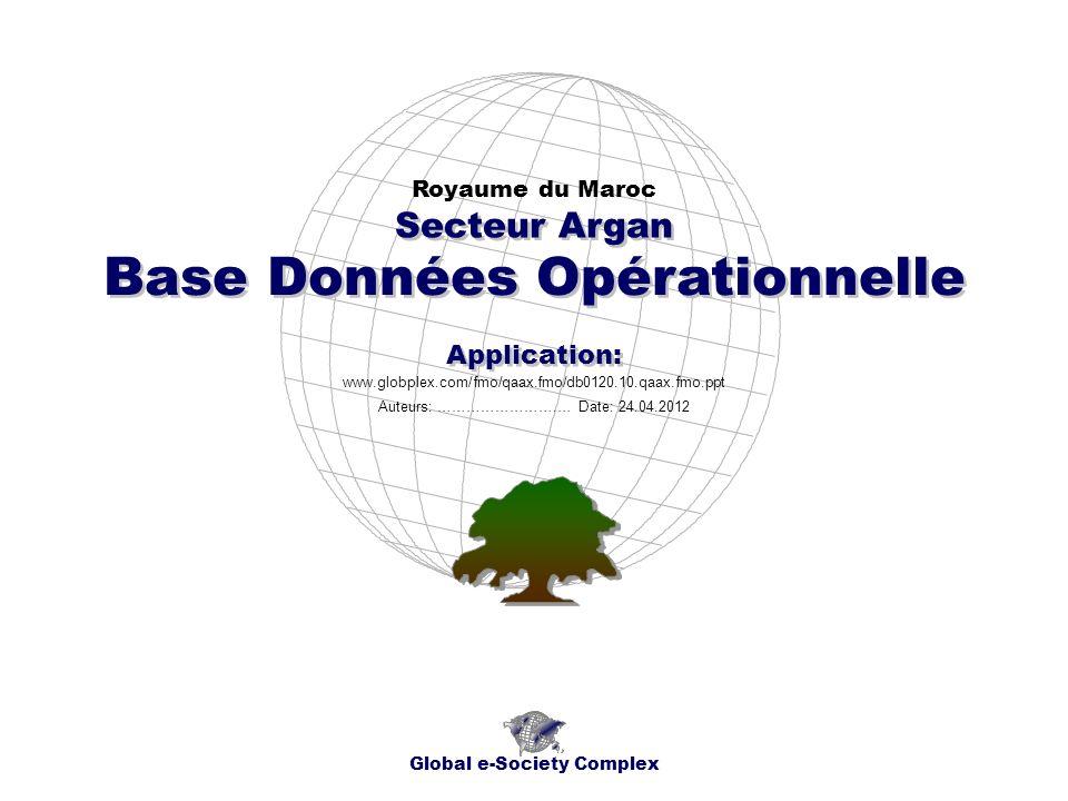 Base Données Opérationnelle Royaume du Maroc Global e-Society Complex www.globplex.com/fmo/qaax.fmo/db0120.10.qaax.fmo.ppt Secteur Argan Application: Auteurs: …………………….… Date: 24.04.2012