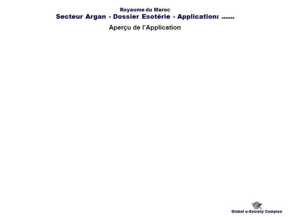 Aperçu de lApplication Global e-Society Complex Royaume du Maroc Secteur Argan - Dossier Esotérie - Application:......