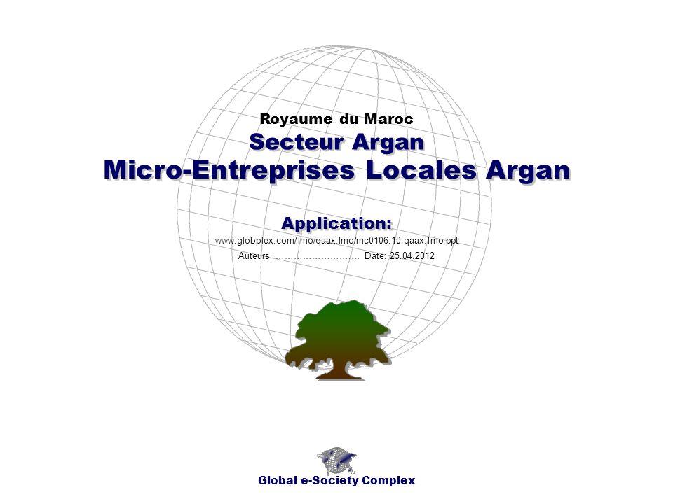 Micro-Entreprises Locales Argan Royaume du Maroc Global e-Society Complex www.globplex.com/fmo/qaax.fmo/mc0106.10.qaax.fmo.ppt Secteur Argan Applicati