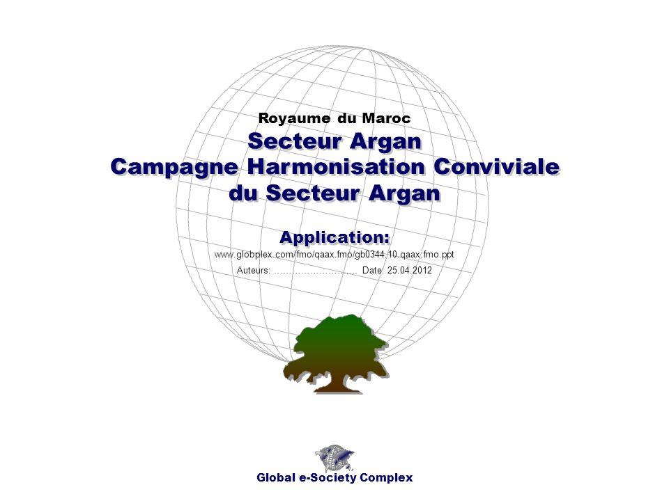Campagne Harmonisation Conviviale du Secteur Argan Royaume du Maroc Global e-Society Complex www.globplex.com/fmo/qaax.fmo/gb0344.10.qaax.fmo.ppt Sect