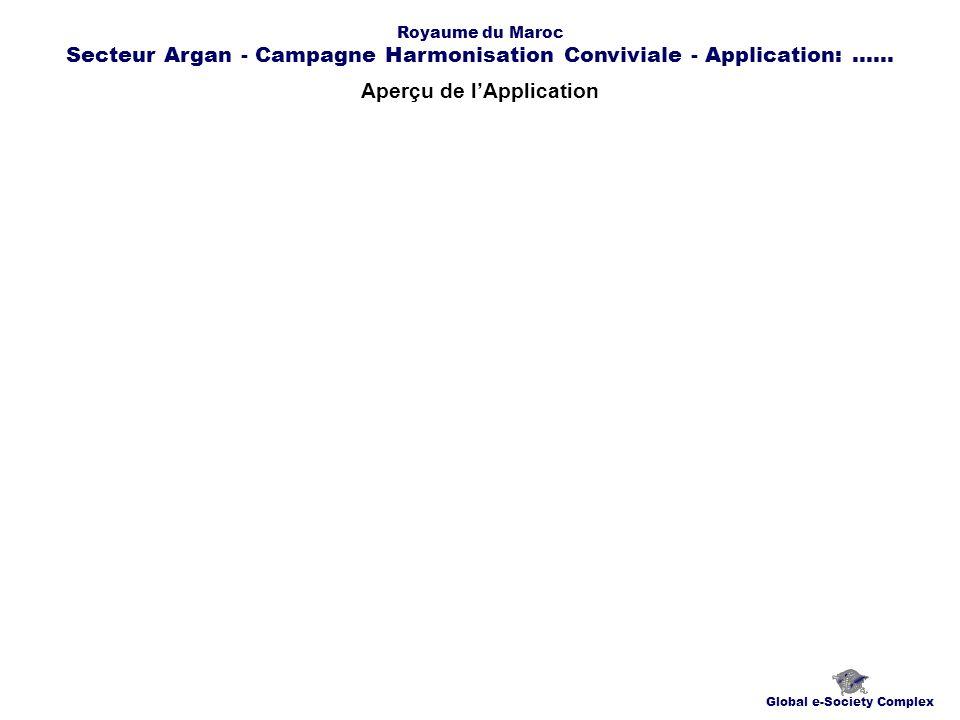 Aperçu de lApplication Global e-Society Complex Royaume du Maroc Secteur Argan - Campagne Harmonisation Conviviale - Application:......