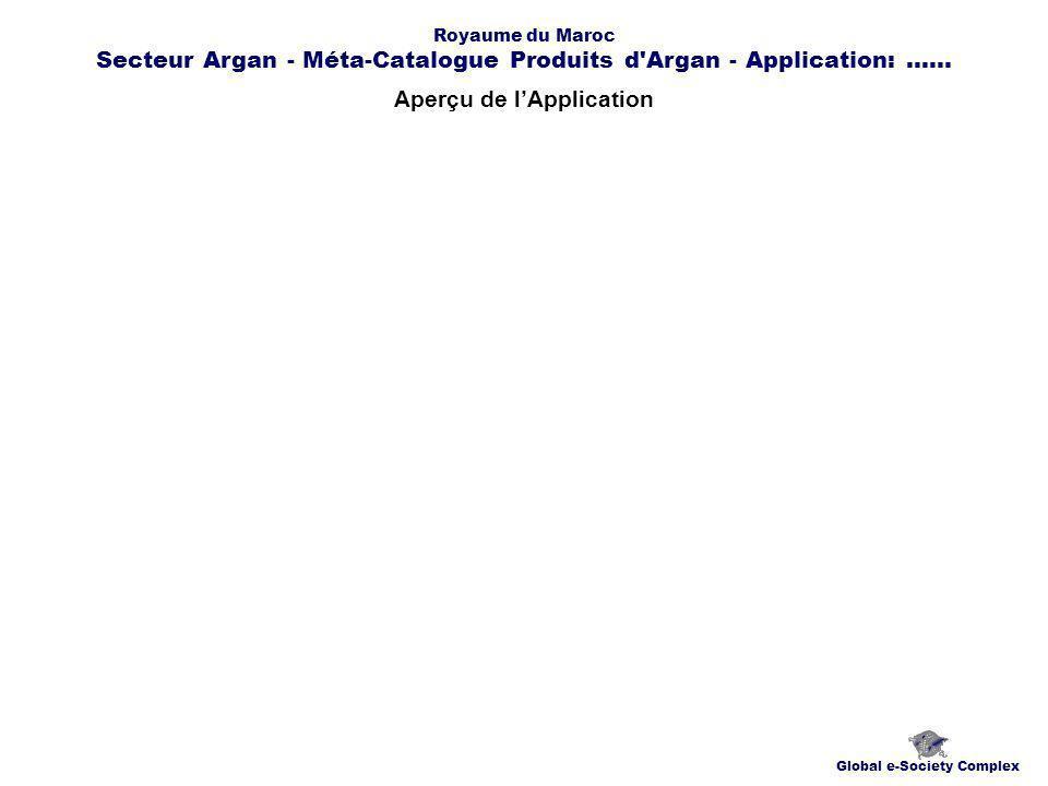 Aperçu de lApplication Global e-Society Complex Royaume du Maroc Secteur Argan - Méta-Catalogue Produits d Argan - Application:......