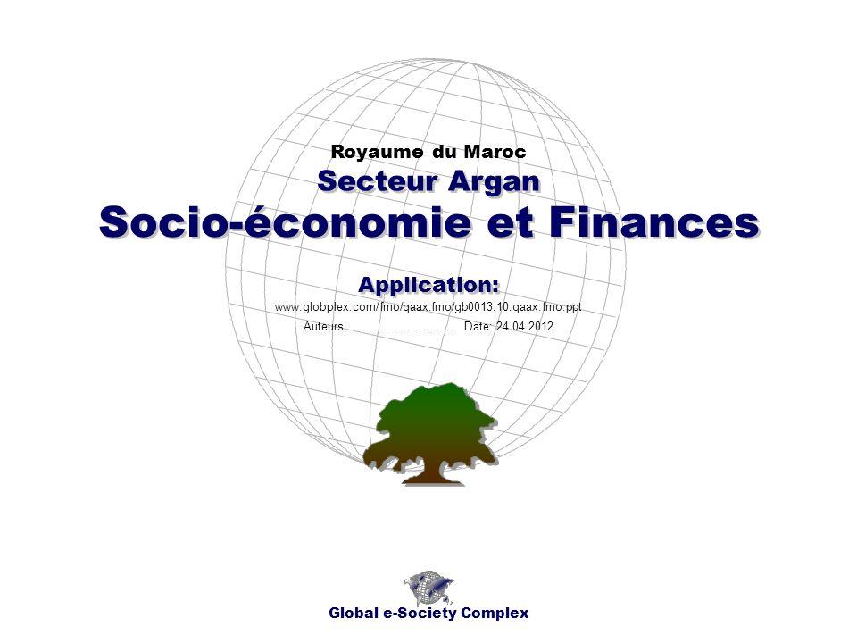 Socio-économie et Finances Royaume du Maroc Global e-Society Complex www.globplex.com/fmo/qaax.fmo/gb0013.10.qaax.fmo.ppt Secteur Argan Application: A