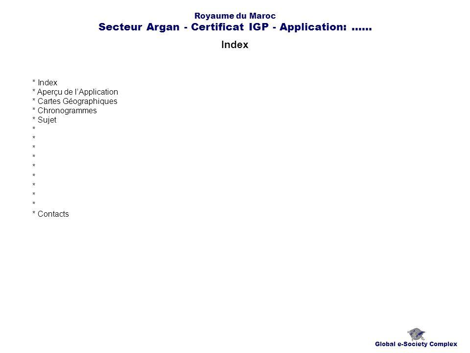 Index Global e-Society Complex * Index * Aperçu de lApplication * Cartes Géographiques * Chronogrammes * Sujet * * Contacts Royaume du Maroc Secteur Argan - Certificat IGP - Application:......