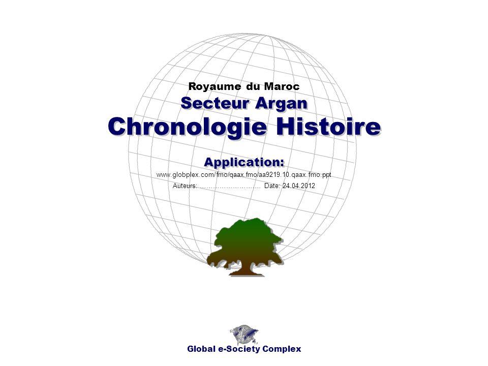 Index Global e-Society Complex * Index * Aperçu de lApplication * Cartes Géographiques * Chronogrammes * Sujet * * Contacts Royaume du Maroc Secteur Argan - Chronologie Histoire - Application:......