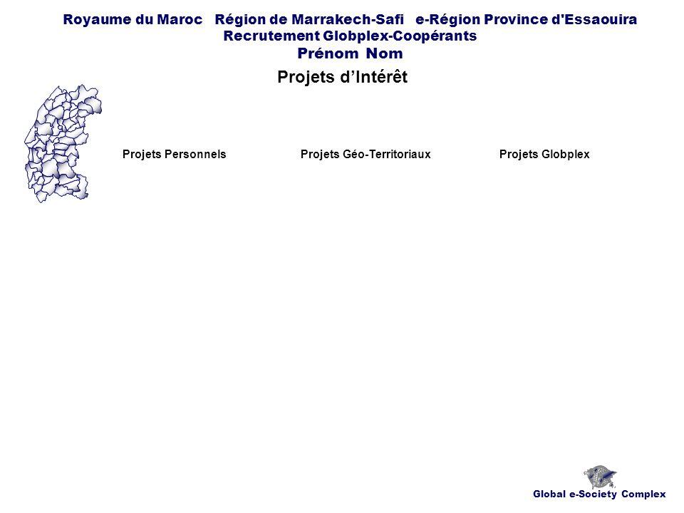 Global e-Society Complex Royaume du Maroc Région de Marrakech-Safi e-Région Province d Essaouira Recrutement Globplex-Coopérants Prénom Nom Projets dIntérêt Projets PersonnelsProjets Géo-TerritoriauxProjets Globplex