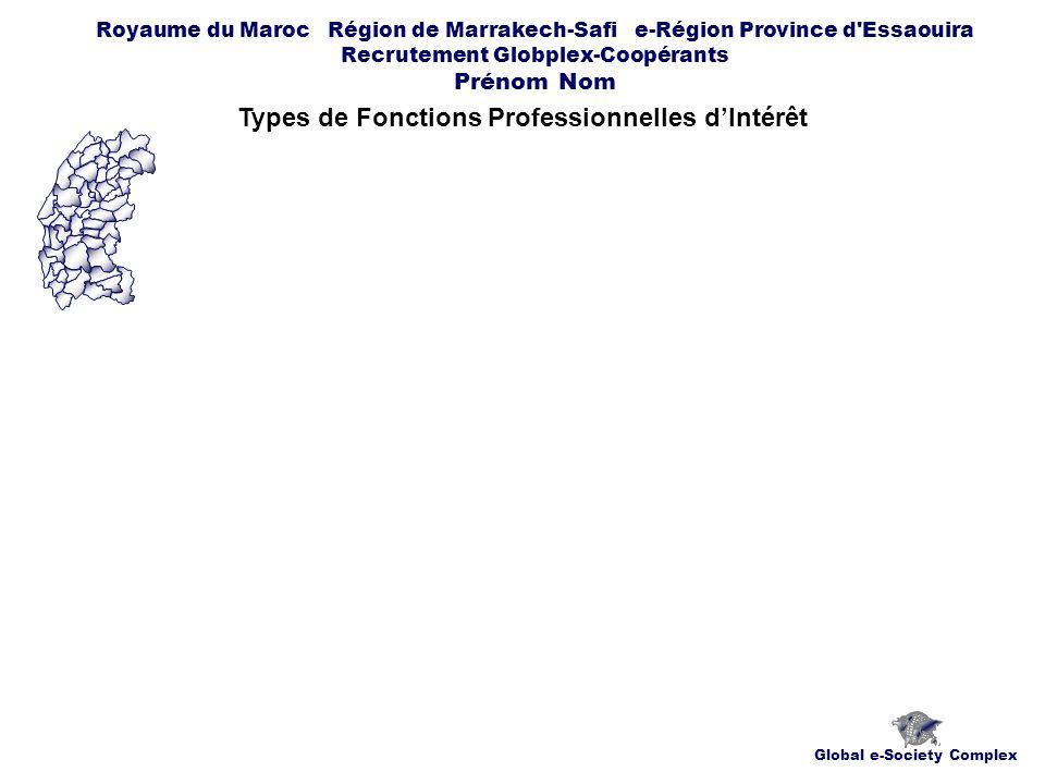 Global e-Society Complex Royaume du Maroc Région de Marrakech-Safi e-Région Province d Essaouira Recrutement Globplex-Coopérants Prénom Nom Types de Fonctions Professionnelles dIntérêt