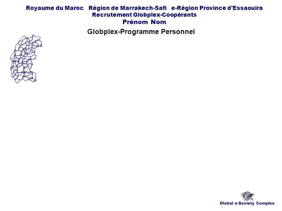 Global e-Society Complex Royaume du Maroc Région de Marrakech-Safi e-Région Province d Essaouira Recrutement Globplex-Coopérants Prénom Nom Globplex-Programme Personnel