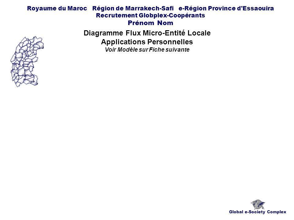 Global e-Society Complex Royaume du Maroc Région de Marrakech-Safi e-Région Province d Essaouira Recrutement Globplex-Coopérants Prénom Nom Diagramme Flux Micro-Entité Locale Applications Personnelles Voir Modèle sur Fiche suivante