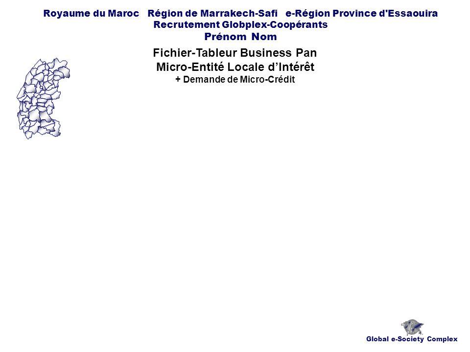 Global e-Society Complex Royaume du Maroc Région de Marrakech-Safi e-Région Province d Essaouira Recrutement Globplex-Coopérants Prénom Nom Fichier-Tableur Business Pan Micro-Entité Locale dIntérêt + Demande de Micro-Crédit