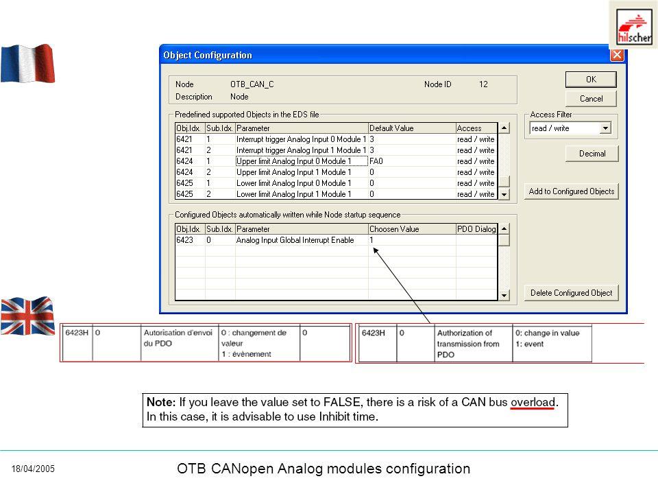 18/04/2005 OTB CANopen Analog modules configuration