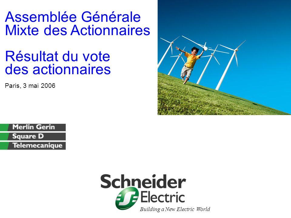 Assemblée Générale Mixte des Actionnaires Résultat du vote des actionnaires Paris, 3 mai 2006 Building a New Electric World