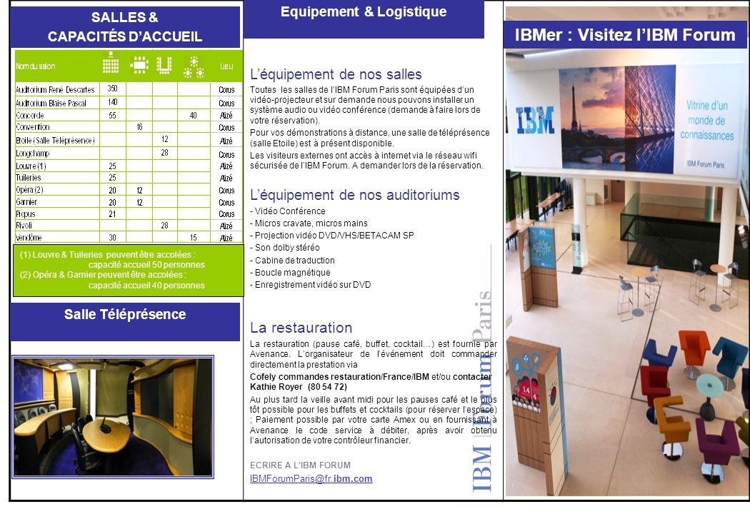 Léquipement de nos salles Toutes les salles de lIBM Forum Paris sont équipées dun vidéo-projecteur et sur demande nous pouvons installer un système au