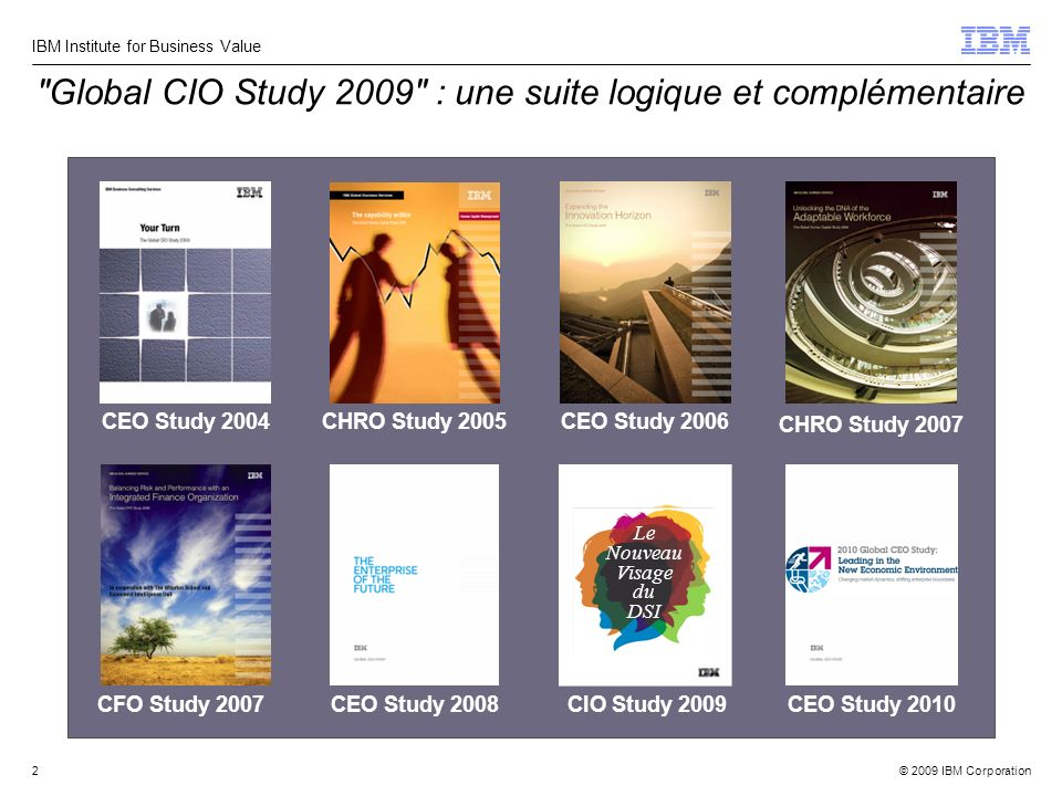 © 2009 IBM Corporation IBM Institute for Business Value 2 Global CIO Study 2009 : une suite logique et complémentaire CHRO Study 2005 CEO Study 2006 CEO Study 2004 CEO Study 2008CFO Study 2007 CHRO Study 2007 CEO Study 2010CIO Study 2009 Le Nouveau Visage du DSI