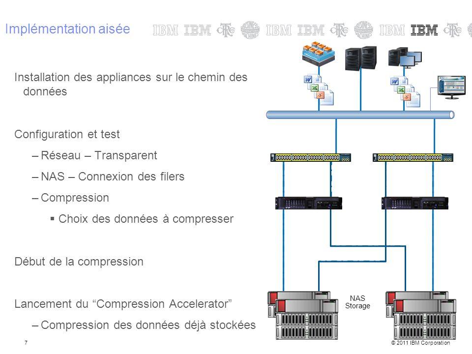 © 2011 IBM Corporation7 Implémentation aisée Installation des appliances sur le chemin des données Configuration et test –Réseau – Transparent –NAS –