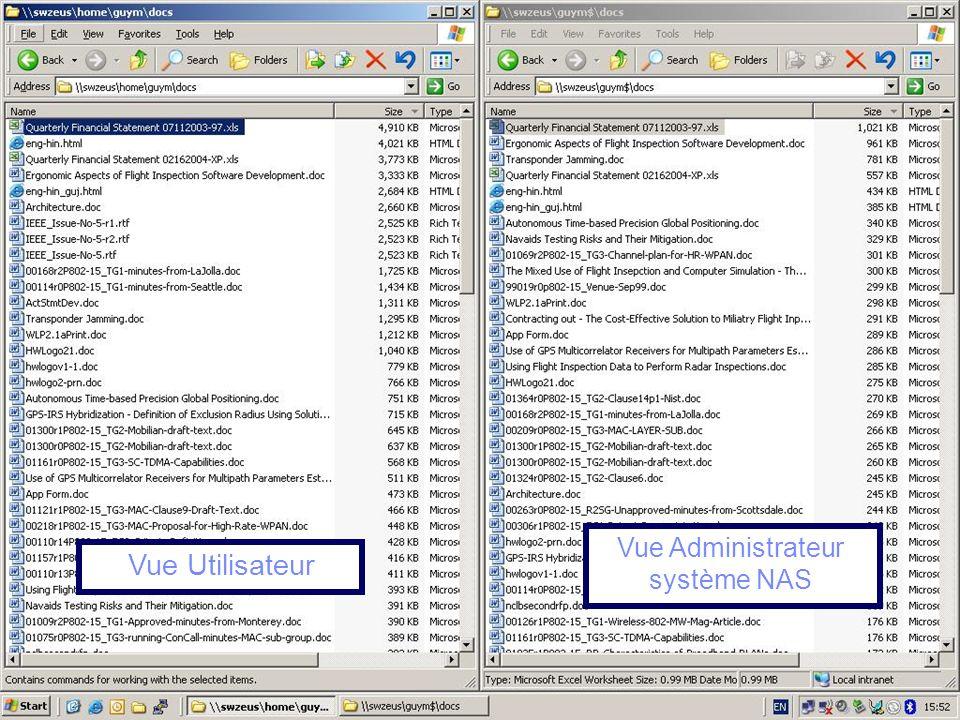 © 2011 IBM Corporation88 Vue Administrateur système NAS Vue Utilisateur