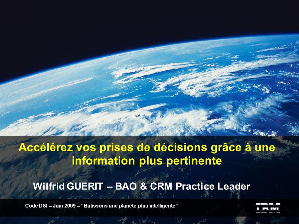 Code DSI Le Castellet– Octobre 2009 – Bâtissons une planète plus intelligente 12 BI Benchmark : une méthodologie danalyse basée sur le modèle de maturité BI IBM + Grille dAnalyse Excel