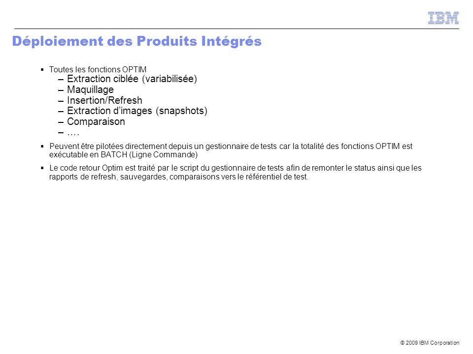 © 2009 IBM Corporation Déploiement des Produits Intégrés Toutes les fonctions OPTIM –Extraction ciblée (variabilisée) –Maquillage –Insertion/Refresh –