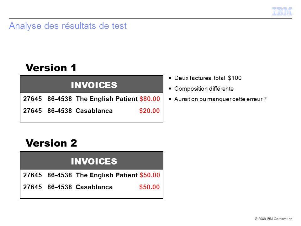 © 2009 IBM Corporation Analyse des résultats de test Deux factures, total $100 Composition différente Aurait on pu manquer cette erreur ? INVOICES 276
