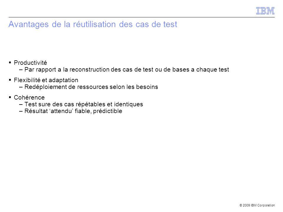 © 2009 IBM Corporation Avantages de la réutilisation des cas de test Productivité –Par rapport a la reconstruction des cas de test ou de bases a chaqu