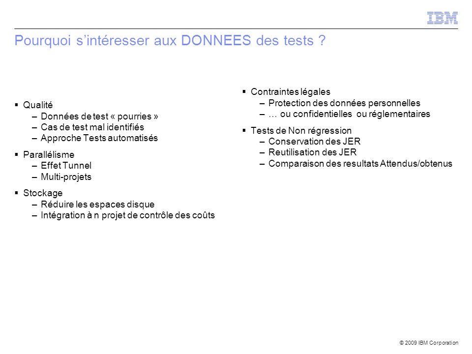 © 2009 IBM Corporation Pourquoi sintéresser aux DONNEES des tests ? Qualité –Données de test « pourries » –Cas de test mal identifiés –Approche Tests