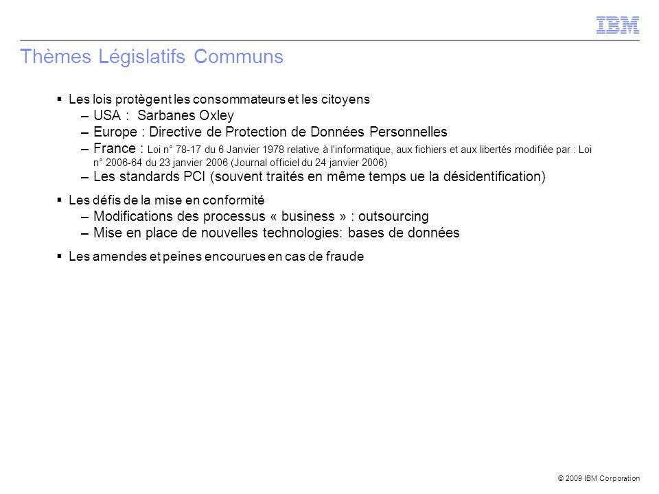 © 2009 IBM Corporation Thèmes Législatifs Communs Les lois protègent les consommateurs et les citoyens –USA : Sarbanes Oxley –Europe : Directive de Pr