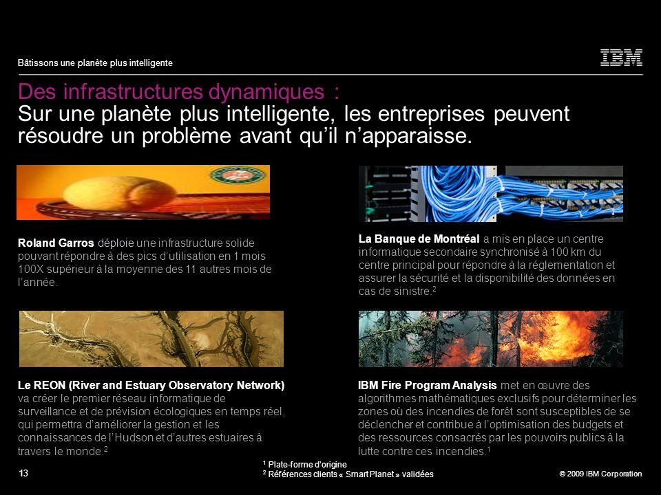 13 © 2009 IBM Corporation Bâtissons une planète plus intelligente Des infrastructures dynamiques : Sur une planète plus intelligente, les entreprises