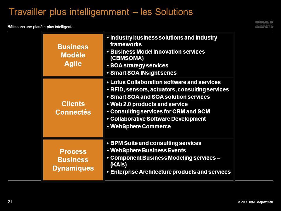 21 © 2009 IBM Corporation Bâtissons une planète plus intelligente Travailler plus intelligemment – les Solutions Business Modèle Agile Industry busine