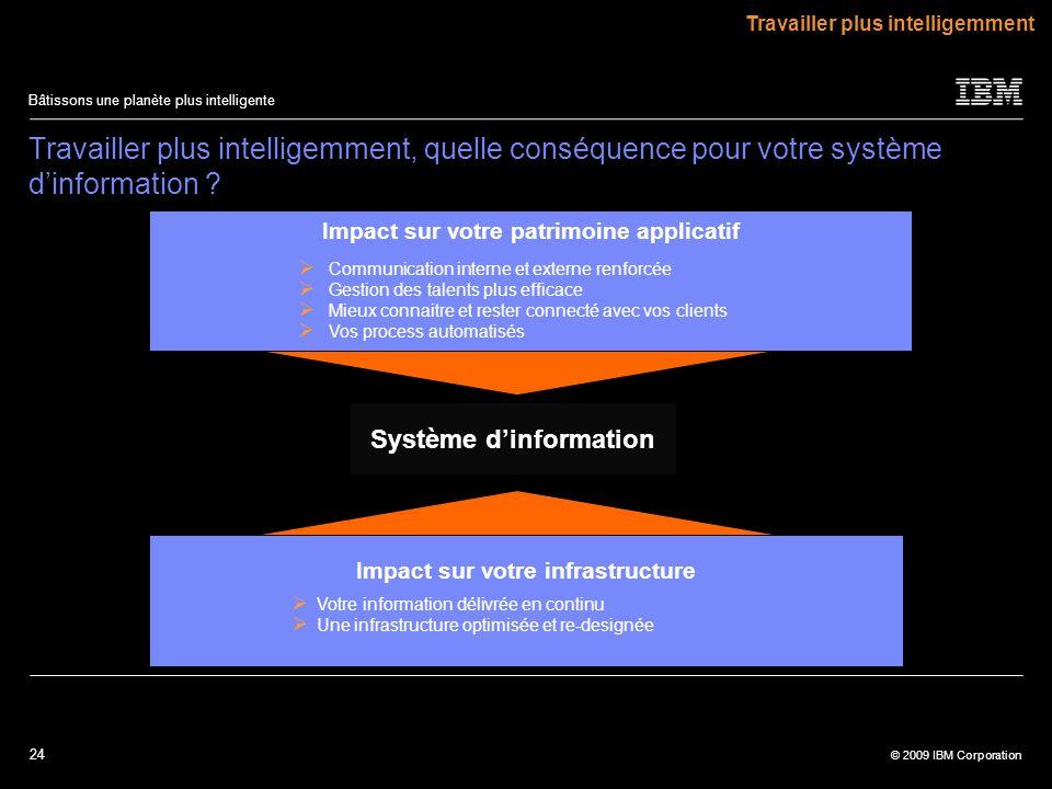 24 © 2009 IBM Corporation Bâtissons une planète plus intelligente Système dinformation Travailler plus intelligemment, quelle conséquence pour votre s